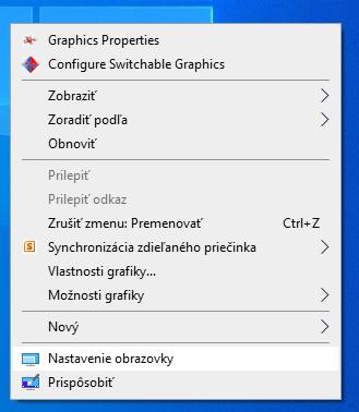 menu - nastavenie obrazovky